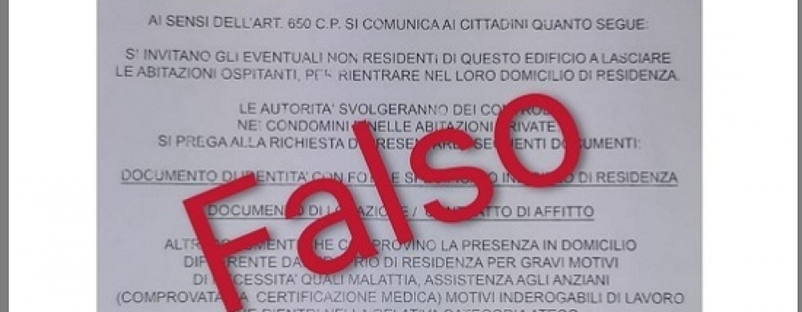 SICUREZZA, FALSO VOLANTINO INTESTATO AL MINISTERO DELL'INTERNO